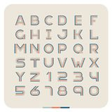 Outline retro vintage font. Latin letters with numbers. Three linear style royalty free illustration