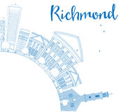 Outline Richmond (Virginia) Skyline with Blue Buildings  Stock Image
