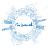 Outline Richmond (Virginia) Skyline with Blue Buildings and Copy Stock Image