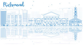 Outline Richmond (Virginia) Skyline with Blue Buildings and Refl Royalty Free Stock Photo