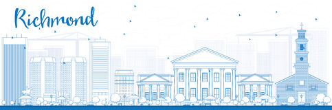 Outline Richmond (Virginia) Skyline with Blue Buildings. Vector Illustration. Business Travel and Tourism Concept with Modern Buildings. Image for Royalty Free Stock Photo