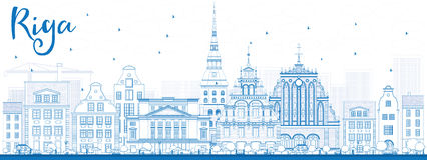Outline Riga Skyline with Blue Landmarks. Stock Photo