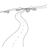 Outline of Road to Mountains Royalty Free Stock Images