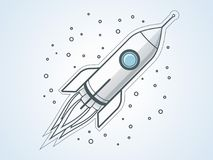 Outline rocket. Space travel. Project start up and development process. Space transport royalty free illustration