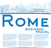Outline Rome skyline with blue landmarks and copy space Royalty Free Stock Image