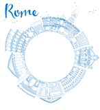 Outline Rome skyline with blue landmarks and copy space Stock Photography