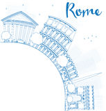 Outline Rome skyline with blue landmarks and copy space Royalty Free Stock Photo