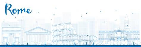 Outline Rome skyline with blue landmarks Stock Photo