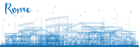 Outline Rome skyline with blue landmarks. Stock Images