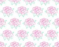 Outline rose flower pattern Stock Image