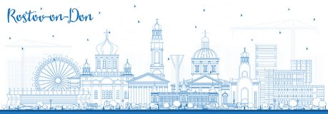 Outline Rostov-on-Don Russia City Skyline with Blue Buildings. Stock Photography