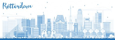 Outline Rotterdam Netherlands Skyline with Blue Buildings. Vector Illustration. Business Travel and Tourism Concept with Modern Architecture Royalty Free Stock Photography