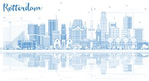 Outline Rotterdam Skyline City with Blue Buildings and Reflectio Stock Images