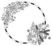 Outline round frame with Christmas bell, lighting candle, holly berry Stock Image