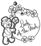 Outline round frame with shamrock contour and teddy bear. Raster clip art. Contour  round frame with shamrock, teddy bear and artistic written text `Luck of the Stock Photo