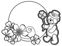 Outline round frame with shamrock contour and teddy bear. Raster clip art. Outline round frame with shamrock contour and teddy bear in leprechaun hat. Copy Royalty Free Stock Images