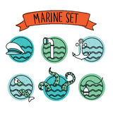 Outline Round Nautical Icons Royalty Free Stock Photo