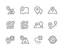 Outline Route Icons Stock Photography