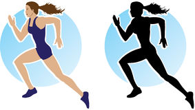 Outline of running girl Royalty Free Stock Photos