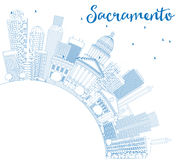Outline Sacramento Skyline with Blue Buildings and Copy Space. Royalty Free Stock Photography