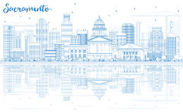 Outline Sacramento Skyline with Blue Buildings and Reflections. Royalty Free Stock Photography