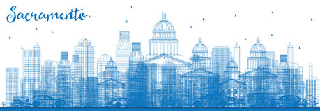 Outline Sacramento Skyline with Blue Buildings. Royalty Free Stock Photography