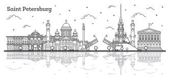 Outline Saint Petersburg Russia City Skyline with Historic Buildings and Reflections Isolated on White royalty free illustration