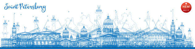 Outline Saint Petersburg skyline with blue landmarks. Royalty Free Stock Images