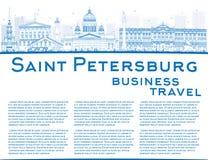 Outline Saint Petersburg skyline with blue landmarks  Stock Images