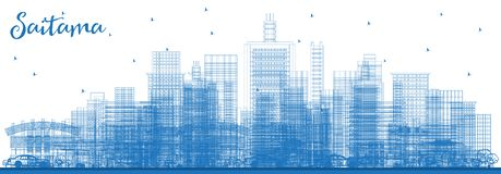 Outline Saitama Japan City Skyline with Blue Buildings stock illustration