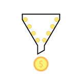 Outline sales funnel with rolling coins. Concept of social network, e-commerce, plan, economy trick.  on white background. flat style trend modern thin line Royalty Free Stock Image