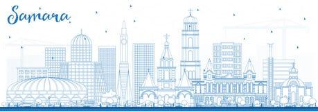Outline Samara Russia City Skyline with Blue Buildings. Royalty Free Stock Photos