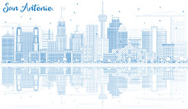 Outline San Antonio Skyline with Blue Buildings and Reflections. Stock Photography