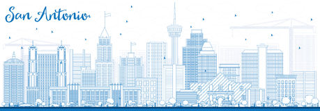 Outline San Antonio Skyline with Blue Buildings. Vector Illustration. Business Travel and Tourism Concept with Modern Architecture. Image for Presentation Stock Photography