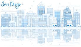Outline San Diego Skyline with Blue Buildings and Reflections. Stock Photo