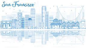 Outline San Francisco Skyline with Blue Buildings and Reflection. Vector Illustration. Business Travel and Tourism Concept with Modern Buildings. Image for Royalty Free Stock Photography