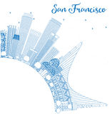 Outline San Francisco Skyline with Blue Buildings. Royalty Free Stock Photo