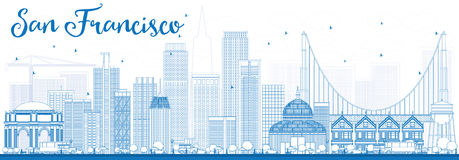 Outline San Francisco Skyline with Blue Buildings. Royalty Free Stock Photography