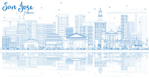 Outline San Jose California Skyline with Blue Buildings and Refl Royalty Free Stock Image
