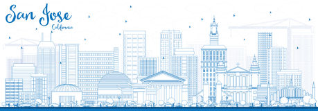 Outline San Jose California Skyline with Blue Buildings. Vector Illustration. Business Travel and Tourism Concept with Modern Architecture. Image for stock illustration