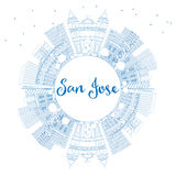 Outline San Jose Skyline with Blue Buildings and Copy Space. Vector Illustration. Business Travel and Tourism Concept with Modern Architecture. Image for Royalty Free Stock Photo