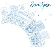 Outline San Jose Skyline with Blue Buildings and Copy Space. Vector Illustration. Business Travel and Tourism Concept with Modern Architecture. Image for Stock Images