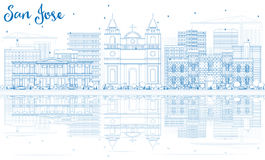 Outline San Jose Skyline with Blue Buildings and Reflections. Vector Illustration. Business Travel and Tourism Concept with Modern Architecture. Image for royalty free illustration