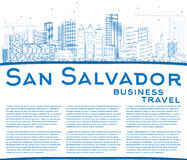Outline San Salvador Skyline with Blue Buildings and Copy Space. Vector Illustration. Business Travel and Tourism Concept with Modern Architecture. Image for Stock Image