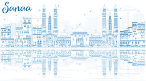 Outline Sanaa (Yemen) Skyline with Blue Buildings and Reflection Royalty Free Stock Photography