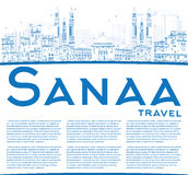 Outline Sanaa (Yemen) Skyline with Blue Buildings. Royalty Free Stock Photo