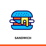 Outline SANDWICH icon. Vector pictogram suitable for print, website and presentation Royalty Free Stock Image