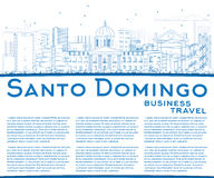 Outline Santo Domingo Skyline with Blue Buildings and Copy Space Royalty Free Stock Image