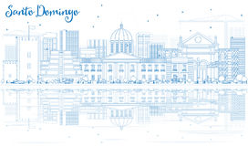 Outline Santo Domingo Skyline with Blue Buildings and Reflection Stock Photography