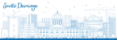 Outline Santo Domingo Skyline with Blue Buildings. Royalty Free Stock Photo